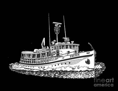 Seattle Drawing - Triton 88 Foot Fantail Yacht by Jack Pumphrey