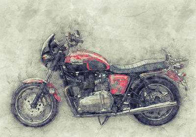 Mixed Media - Triumph Bonneville 1 - Standard Motorcycle - 1959 - Motorcycle Poster - Automotive Art by Studio Grafiikka