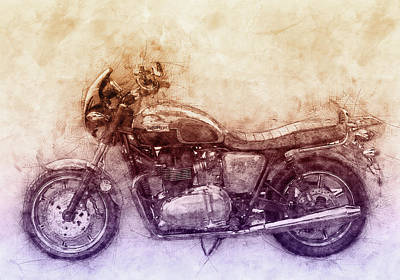 Royalty-Free and Rights-Managed Images - Triumph Bonneville 2 - Standard Motorcycle - 1959 - Motorcycle Poster - Automotive Art by Studio Grafiikka