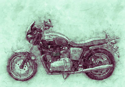 Royalty-Free and Rights-Managed Images - Triumph Bonneville 3 - Standard Motorcycle - 1959 - Motorcycle Poster - Automotive Art by Studio Grafiikka