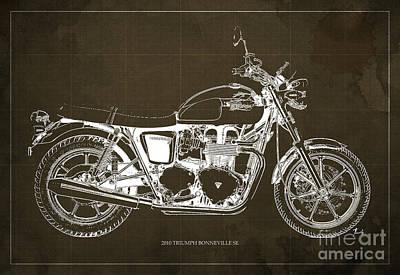 Triumph Bonneville Se 2010 Blueprint, Brown Background Art Print by Pablo Franchi