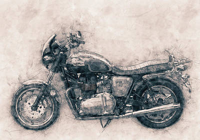 Mixed Media Royalty Free Images - Triumph Bonneville - Standard Motorcycle - 1959 - Motorcycle Poster - Automotive Art Royalty-Free Image by Studio Grafiikka
