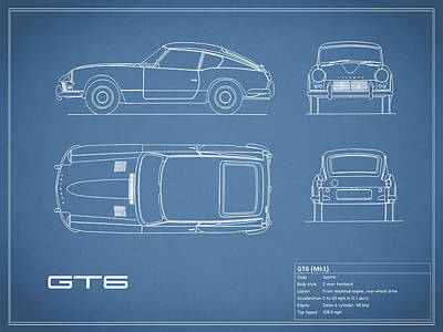 Triumph Gt6 Blueprint Art Print