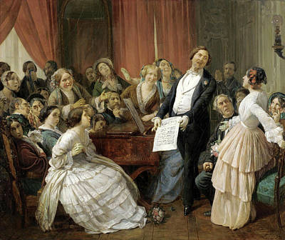 Triumph Of A Tenor At A Musical Matinee Print by Francois-Auguste Biard