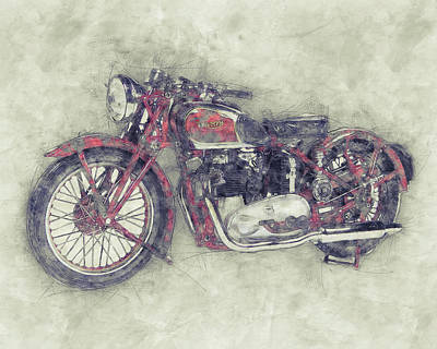 Mixed Media - Triumph Speed Twin 1 - 1937 - Vintage Motorcycle Poster - Automotive Art by Studio Grafiikka