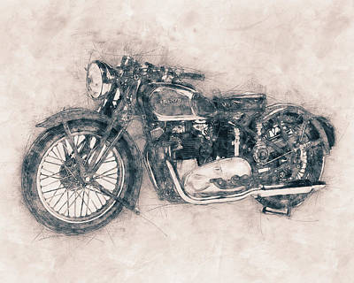 Mixed Media Royalty Free Images - Triumph Speed Twin - 1937 - Vintage Motorcycle Poster - Automotive Art Royalty-Free Image by Studio Grafiikka