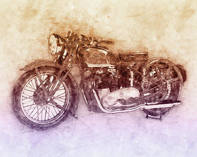 Mixed Media - Triumph Speed Twin 2 - 1937 - Vintage Motorcycle Poster - Automotive Art by Studio Grafiikka