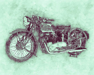 Mixed Media - Triumph Speed Twin 3 - 1937 - Vintage Motorcycle Poster - Automotive Art by Studio Grafiikka
