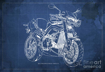 Bike Painting - Triumph Street Triple R, 2014 Motorcycle Blueprint Blue Background Gift For Dad by Pablo Franchi
