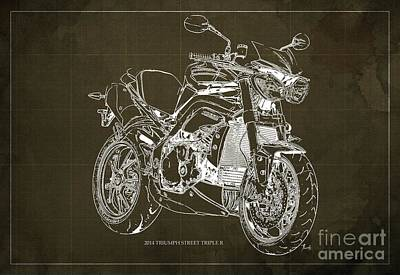 Triumph Street Triple R, 2014 Motorcycle Blueprint Brown Background Gift For Dad Art Print by Pablo Franchi