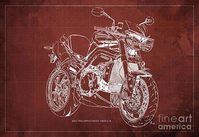 Triumph Street Triple R, 2014 Motorcycle Blueprint Red Background Art Print by Pablo Franchi
