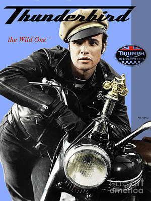 Transportation Digital Art - Triumph Thunderbird 650 Cc Motorcycle, The Wild One, Marlon Brando by Thomas Pollart