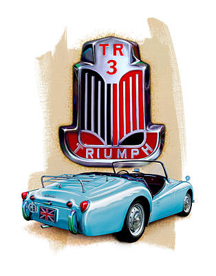 Digital Art - Triumph Tr-3 Lite Blue by David Kyte