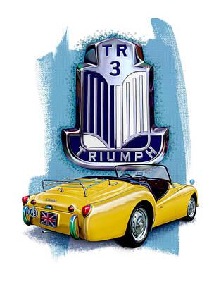 Digital Art - Triumph Tr-3 Yellow by David Kyte
