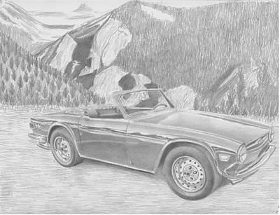 Tr Drawing - Triumph Tr-6 Sports Car Art Print by Stephen Rooks