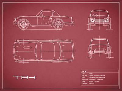 Triumph Tr4 Blueprint Red Art Print