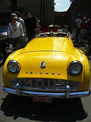 Triumph Yellow Car Art Print