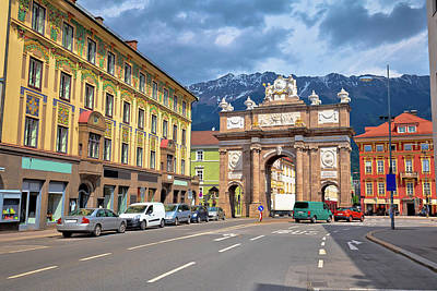 Photograph - Triumphal Arch And Maria Theresa Street View In Innsbruck by Brch Photography
