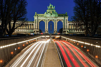 Photograph - Arcade Du Ciquantenaire At Blue Hour by Barry O Carroll