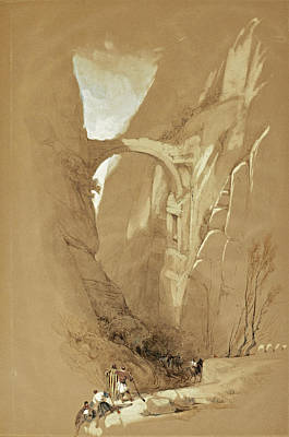Petra Drawing - Triumphal Arch Crossing The Ravine Leading To Petra. Jordan by David Roberts