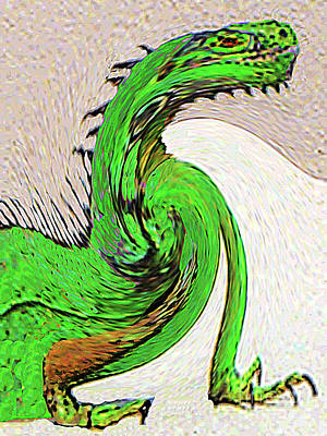 Digital Art - Triumphant Iguana by Merton Allen