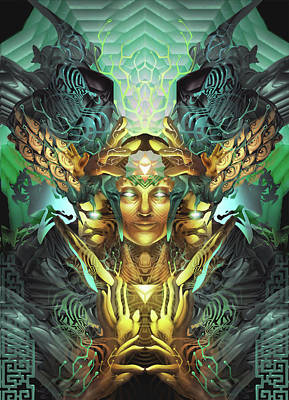 Merkaba Digital Art - Triumvirate by George Atherton