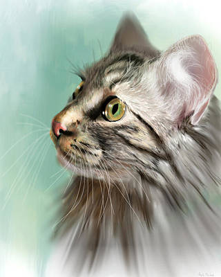 Digital Art - Trixie The Maine Coon Cat by Angela Murdock