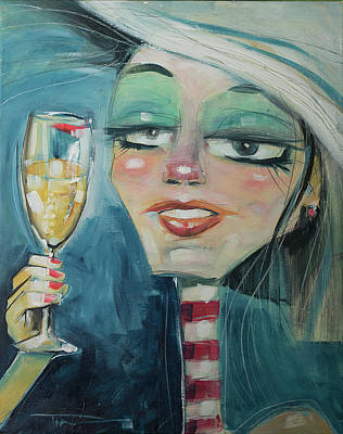 Painting - Trixie With Champagne by Tim Nyberg