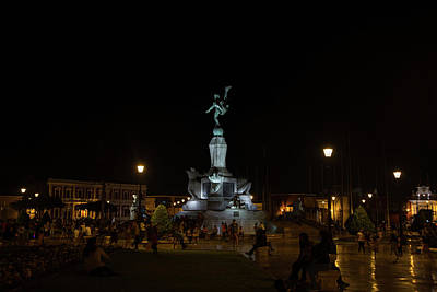 Digital Art - Trjillo Plaza De Armas At Night by Carol Ailles
