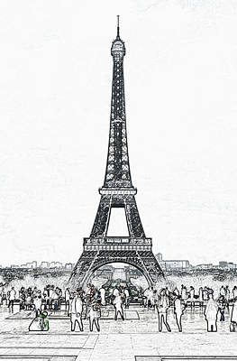 Digital Art - Trocadero Crowd Enjoying Eiffel Tower View Colored Pencil Digital Art by Shawn O'Brien