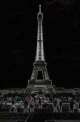 Digital Art - Trocadero Crowd Enjoying Eiffel Tower View Glowing Edges Digital Art by Shawn O'Brien