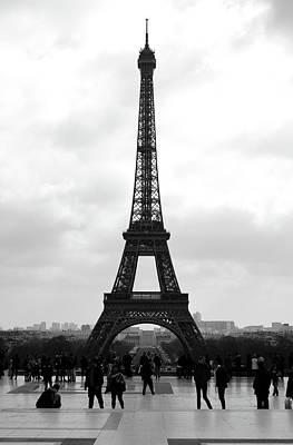 Photograph - Trocadero Crowd Enjoying Eiffel Tower View Painterly Fresco Digital Art Black And White by Shawn O'Brien