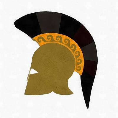 Greek Icons Painting - Trojan Helmet by Esoterica Art Agency