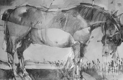 Animals Drawings - Trojan Horse 2 by Tony Belobrajdic