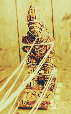 Close Up Horses Photograph - Trojan Horse Wooden Toy Being Pulled By Ropes by Jorgo Photography - Wall Art Gallery