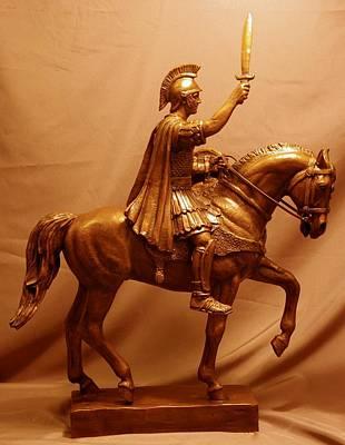 Bronze Sculpture - Trojan Warrior Mascot Statue Bronze Sculpture by Kim Corpany