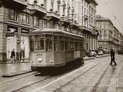 Trolley In Milan Print by Carol Acedo
