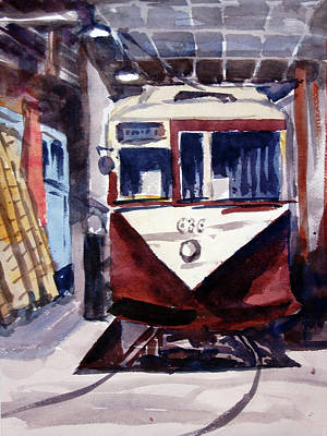 Trolley Maintenance Art Print by Ron Stephens