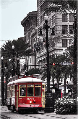 Canal Street Photograph - Trolley On Bourbon And Canal  by Tammy Wetzel