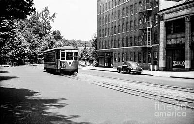 Art Print featuring the photograph Trolley With Packard Building  by Cole Thompson