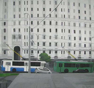 Painting - Moscow. Trolleybuses On Kalanchevskaya Street by Lena Krasotina