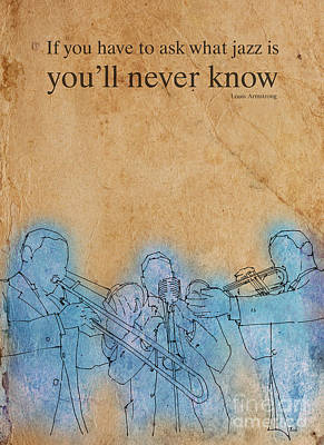 Jazz Royalty Free Images - Trombon trio - Louis quote Royalty-Free Image by Drawspots Illustrations