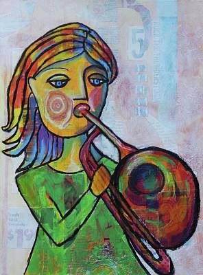 Trombone Mixed Media - Trombone Girl by Mary Conner