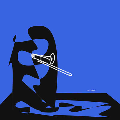 Digital Art - Trombone In Blue by David Bridburg
