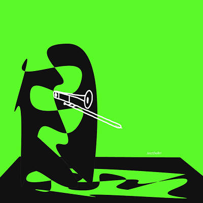 Digital Art - Trombone In Green by David Bridburg