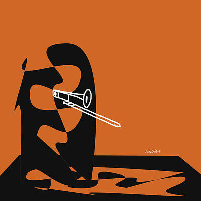 Digital Art - Trombone In Orange by David Bridburg