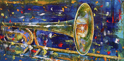 Trombone Painting - Trombone by Michael Creese