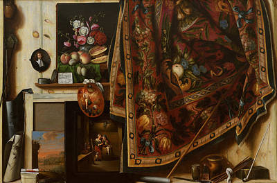 Painting - Trompe L'oeil. A Cabinet In The Artist's Studio by Cornelis Norbertus Gysbrechts