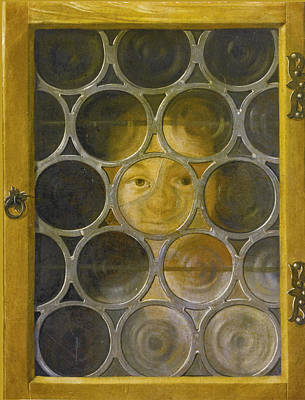 Painting - Trompe L'oeil Of A Boy's Face Through A Broken Leaded Window by After Joseph Plepp