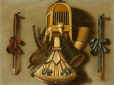 Cage Painting - Trompe Loeil With A Bird Cage And Hunting Equipment by MotionAge Designs